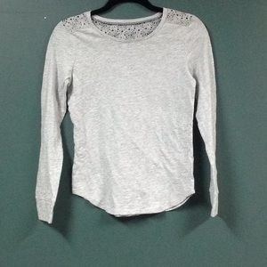Gray top with lace back panel